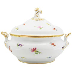 Tureen, German, Early 20th Century, Porcelain Hand Painted Meissen