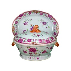 Tureen with Cover and Platter, Famille Rose, Qianlong (1736-1795) East India Co.