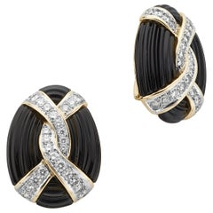 Turi 18 Karat Yellow Gold Onyx, Diamond Earrings