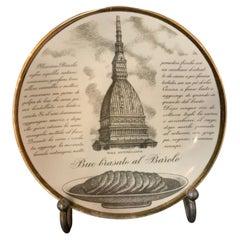 Turin Recipe Plate by Piero Fornasetti for Carrara and Matta