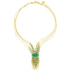 Turkish 21 Karat Yellow Gold Four-Strand Emerald Bead Necklace