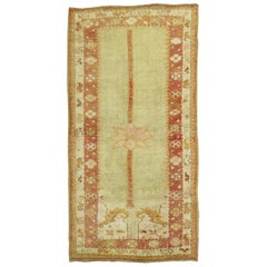 Turkish Antique Rug in Soft Green and Coral