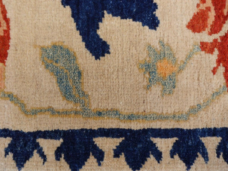 Turkish Azeri Heriz Rug with Tulip Design Hand Knotted For Sale 4
