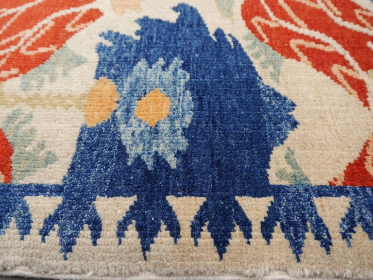 Wool Turkish Azeri Heriz Rug with Tulip Design Hand Knotted For Sale