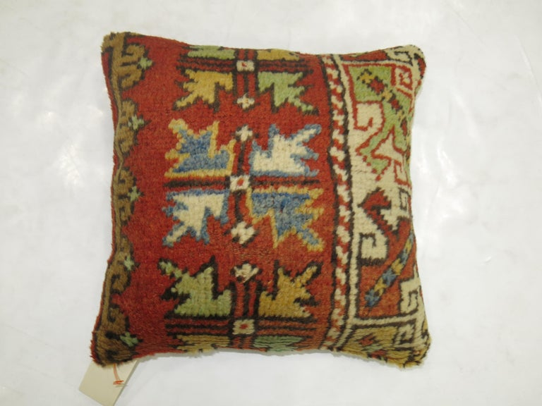 20th Century Turkish Bergama Rug Pillow For Sale