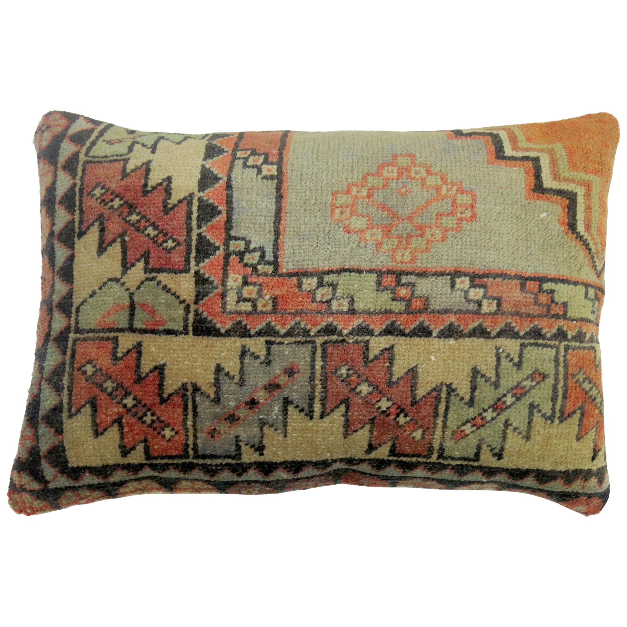 Turkish Border Rug Pillow