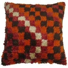 Turkish Checker Shag Rug Pillow