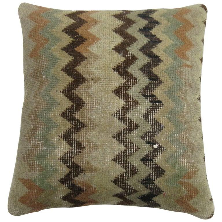 Turkish Chevron Rug Pillow For Sale