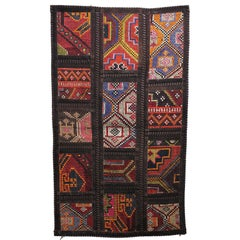 Turkish Colorful Kilim Rug Made of Wool and Leather