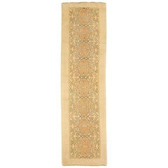 Turkish Donegal Runner Rug with Blue & Pink Floral Patterns on Ivory Field