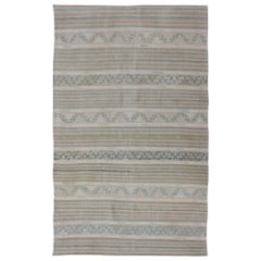 Turkish Flat-Weave Kilim in Muted Colors with Stripes and Embroideries