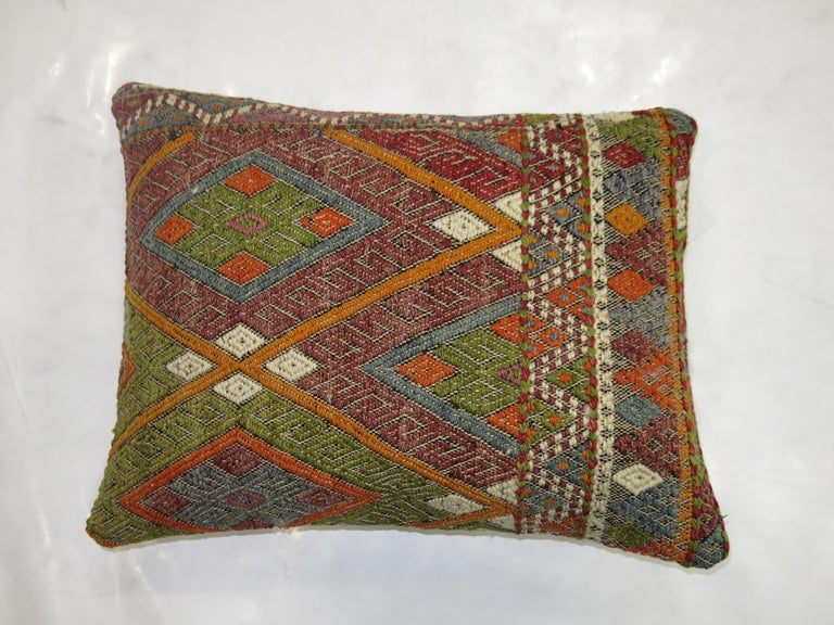 Bohemian Turkish Flat-Weave Pillow For Sale
