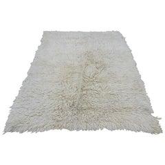 Turkish Flokati Natural Undyed Wool Rug Midcentury
