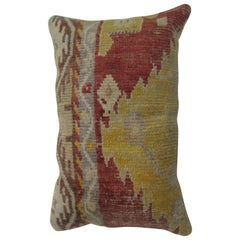 Turkish Geometric Red Yellow Rug Pillow
