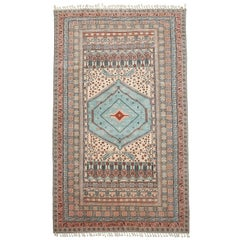 Turkish Ghiordes Oushak Rug with Pastel Colors