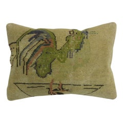 Turkish Green Rooster Pictorial Wool Cotton Rug Pillow