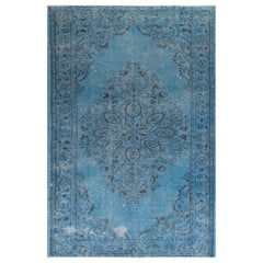 5x9.7 Ft Vintage Turkish Area Rug Over-Dyed in Blue. Wool Handknotted Carpet