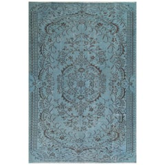 Turkish Hand Knotted Rug Over-Dyed in Soft Cerulean Blue