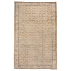 Turkish Kaisary Rug, All-Over Straw Colored Field, Blue Accents, Herati Pattern