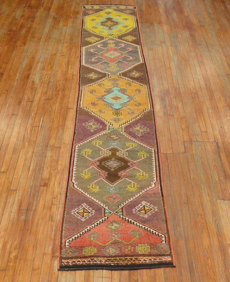 One of a kind, mid-20th century handwoven Turkish village kars runner professionally washed and personally vetted. Ready for everyday use.
