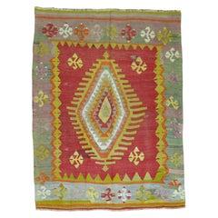 Turkish Kilim 20th Century Flat-Weave Colorful Rug