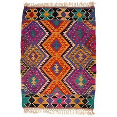 Turkish Kilim Colorful Bright Tribal Rug