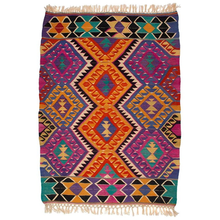 Turkish Kilim Colorful Bright Tribal Rug For Sale At 1stdibs