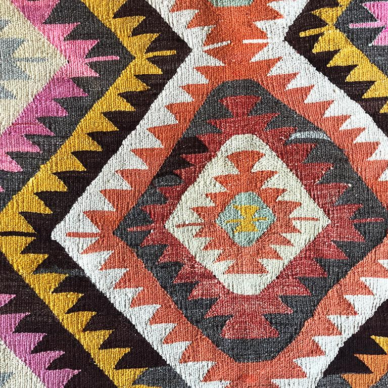 Turkish Kilim Flat-Weave Tribal Rug with Diamond Geometric Patterns in Pink Yell In Excellent Condition For Sale In Oklahoma City, OK