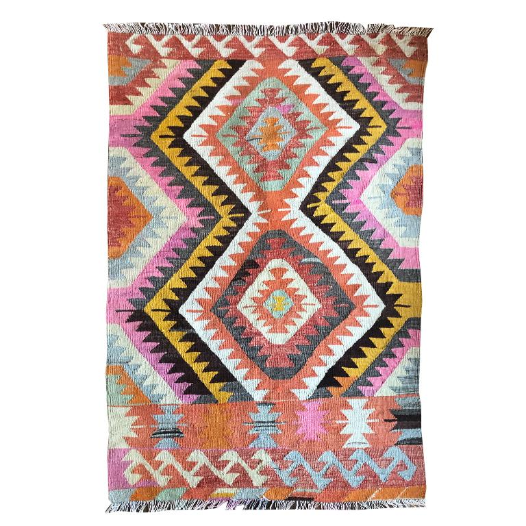 Wool Turkish Kilim Flat-Weave Tribal Rug with Diamond Geometric Patterns in Pink Yell For Sale