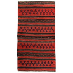 Turkish Kilim Rug in Red Black and Tribal Stripes in Navy