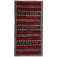 Turkish Kilim Rug in Red, White and Navy Tribal Stripes in Black Field
