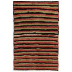 Turkish Kilim Rug with Black and Red Tribal Stripes on Gold Field