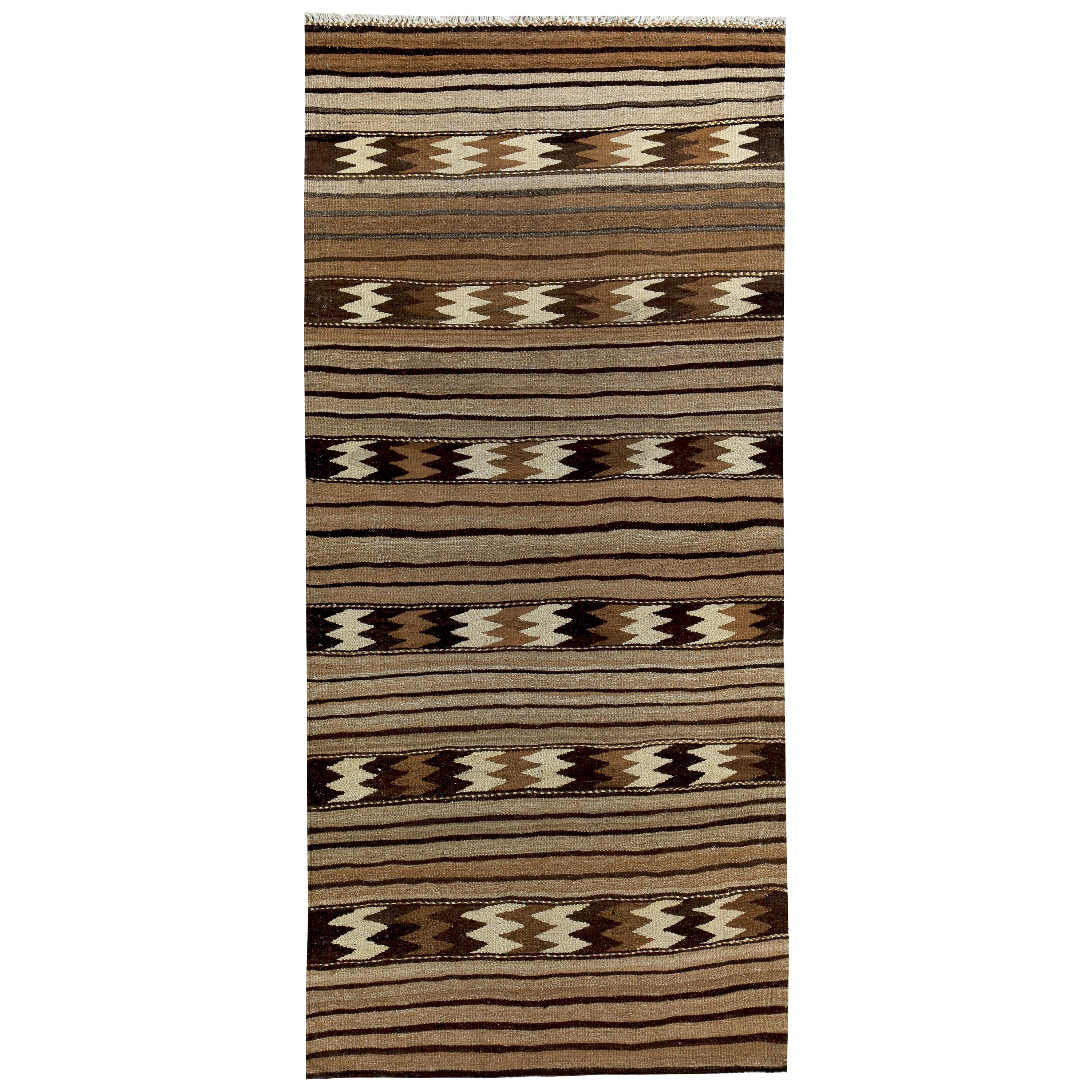 Turkish Kilim Rug with Ivory and Brown Tribal Stripes on Beige Field