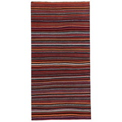 Turkish Kilim Rug with Multicolored Tribal Stripes