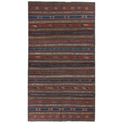 Turkish Kilim Rug with Navy and Red Stripes Decorated with Tribal Details
