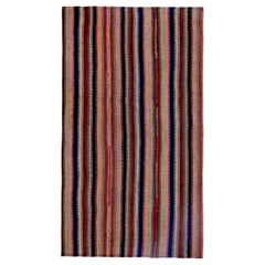 Turkish Kilim Rug with Navy, Brown and Pink Stripes on Ivory Field
