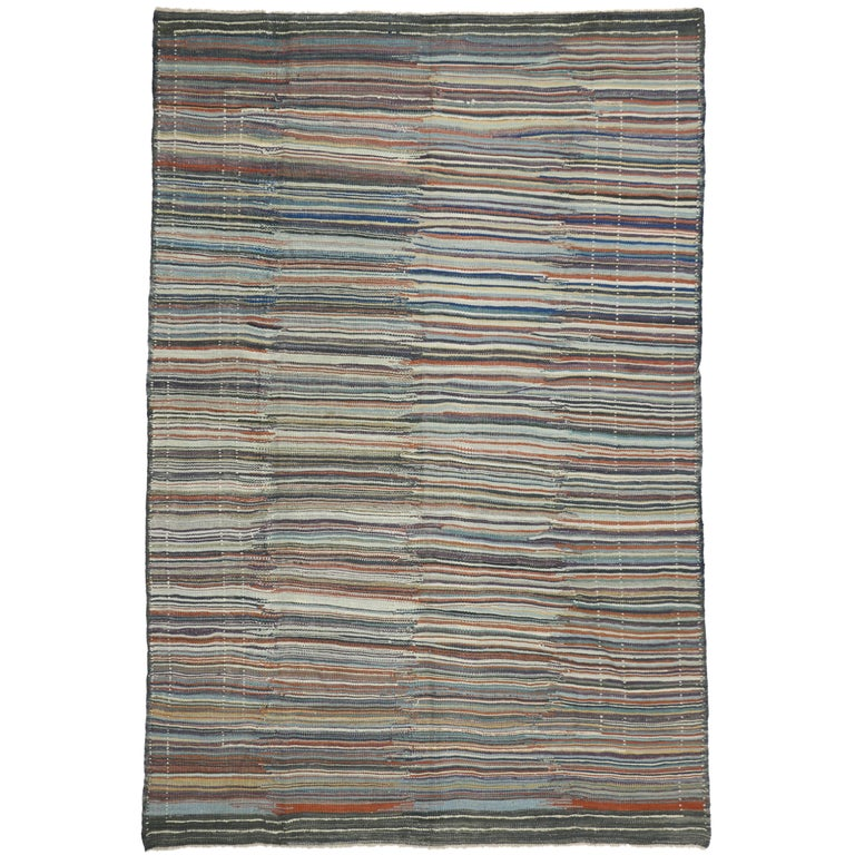 Turkish Kilim Rug with Stripes and Nomad Style