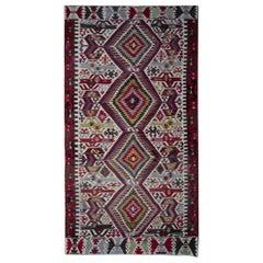 Turkish Kilim Rugs, Antique Rug Runner, Geometric Handmade Carpet Rugs Sale