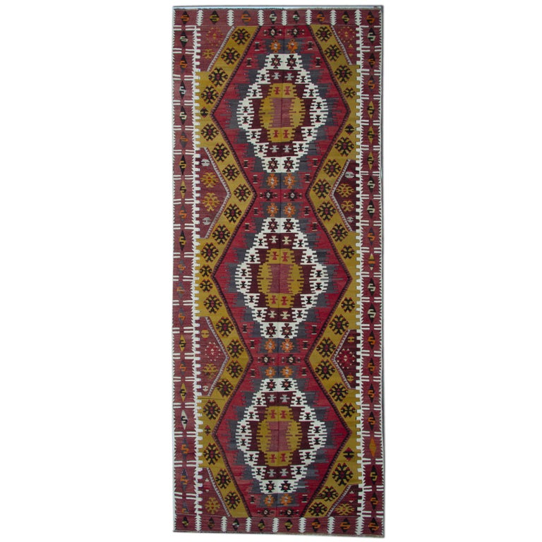 Turkish Kilim Rugs, Antique Runner Rug, Gold Rug Stair