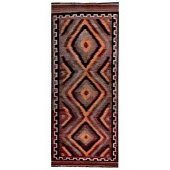 Turkish Kilim Runner Rug in Orange, Brown and Black Flat-Weave Pattern