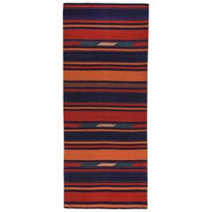 Turkish Kilim Runner Rug with Blue and Orange Stripes