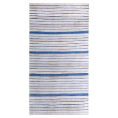 Turkish Kilim Runner Rug with Blue and Ivory Tribal Stripes