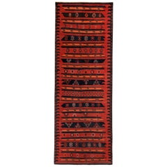 Turkish Kilim Runner Rug with Brown & White Tribal Details on Red & Black Field