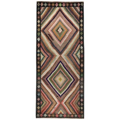 Turkish Kilim Runner Rug with Colorful Tribal Medallions and Patterns