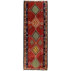 Turkish Kilim Runner Rug with Green and Yellow Tribal Medallions on Red Field
