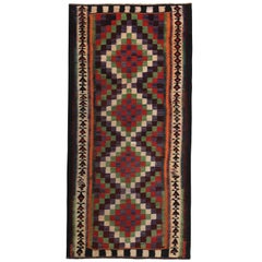 Turkish Kilim Runner Rug with Orange, Blue, Red and Green Checkered Pattern