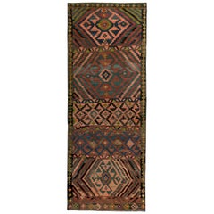 Turkish Kilim Runner Rug with Pink and Green Tribal Details on Brown Field