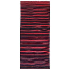 Turkish Kilim Runner Rug with Pink, Navy and Red Stripes