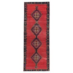 Turkish Kilim Runner Rug with Red, Black and Orange Diamond Pattern