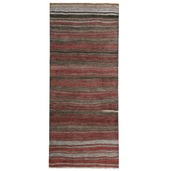 Turkish Kilim Runner Rug with Red, Gray and Brown Stripes Pattern